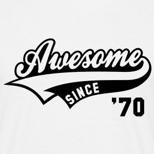 Awesome SINCE 1970 - Birthday Geburtstag Anniversaire T-Shirt BW - Herre-T-shirt