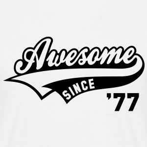 Awesome SINCE 1977 - Birthday Geburtstag Anniversaire T-Shirt BW - Herre-T-shirt
