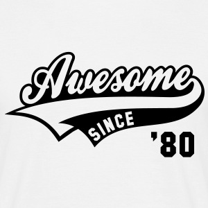 Awesome SINCE 1980 - Birthday Anniversaire T-Shirt BW - Men's T-Shirt