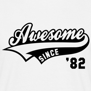 Awesome SINCE 1982 - Birthday Geburtstag Anniversaire T-Shirt BW - Männer T-Shirt