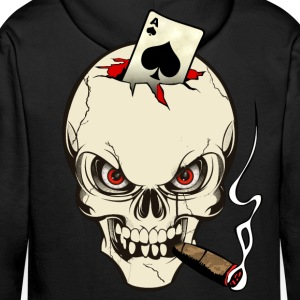 poker skull Sweat-shirts - Sweat-shirt à capuche Premium pour hommes