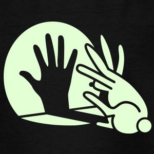 Zwart Rabbit Hand Shadows Glow in the dark Shirts - Teenager T-shirt