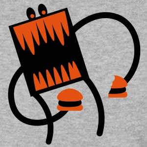 square burger monster with big teeth attacking food Hoodies & Sweatshirts - Men's Sweatshirt