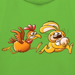 Easter Bunny Stealing an Egg from a Furious Hen Kids' Tops - Kids' Premium Hoodie