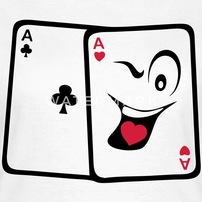 kort esser poker smiley sjov - Dame-T-shirt