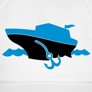 a cruise boat and anchor on the ocean waves Caps & Hats - Baseball Cap