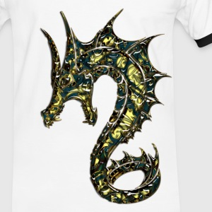 Drache, dragon, digital, blau T-Shirts - Männer Kontrast-T-Shirt