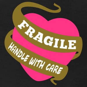 Frauen T-Shirt klassisch Fragile handle with care + neon pink / gold metalic - Frauen T-Shirt