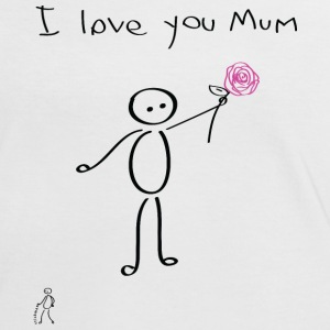 Stickman - I love you mum - Mother's Day - Día de la Madre - Camiseta contraste mujer