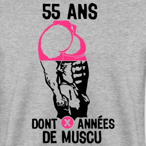 55 ans musculation bodybuilding anniver Sweat-shirts - Sweat-shirt Homme