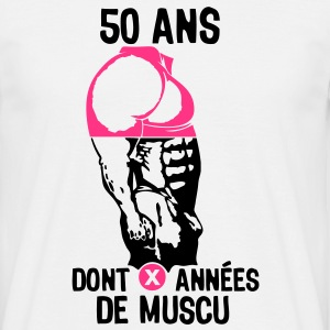 50 ans musculation bodybuilding anniver Tee shirts - T-shirt Homme