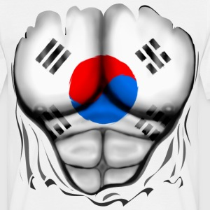 South Korea Flag Ripped Muscles, six pack, chest t - Men's T-Shirt