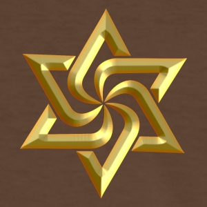 Rael Star, digital gold, variant of Swasika (Svasti - happiness, Salvation) - happiness symbol Tee shirts - T-shirt contraste Homme