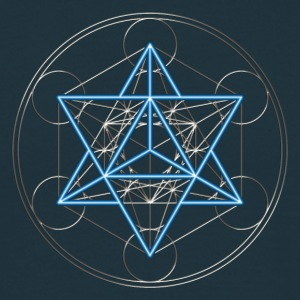 Star Tetrahedron - Merkaba, DD, silver blue,  Flower of Life, Sacred geometry, Platonic Solids T-shirts - Mannen T-shirt