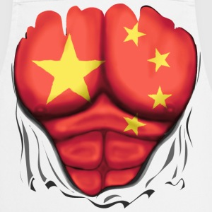 China Flag Ripped Muscles, six pack, chest t-shirt - Cooking Apron