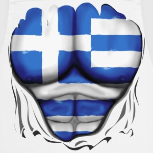 Greece Flag Ripped Muscles six pack chest apron - Cooking Apron