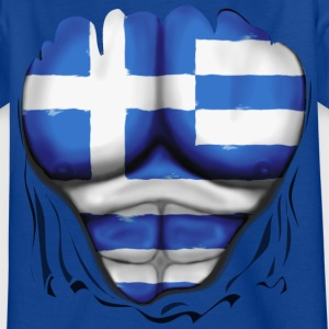 Greece Flag Ripped Muscles six pack chest t-shirt - Teenage T-shirt