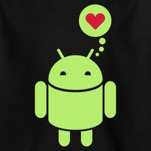 Børne-T-shirt - Droid, robot, donut, heart, love, in love, lovely, cute, app, smartphone, mobile, phone, device, handy, operating, system, program, software, open source, computer, nerd, internet, doodle, programmierungKinder T-Shirts.