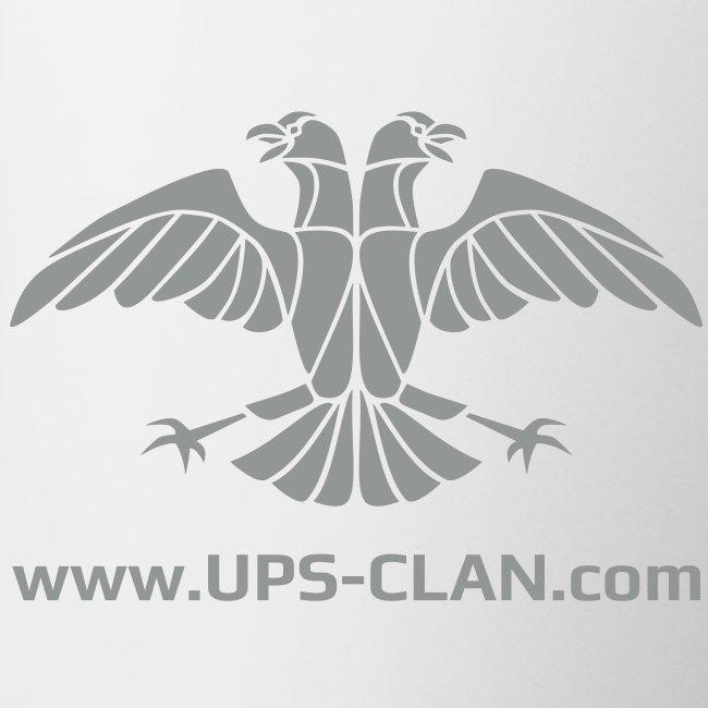 [UPS] Kaffeepott aus weißer Keramik, Aufdruck in Grau