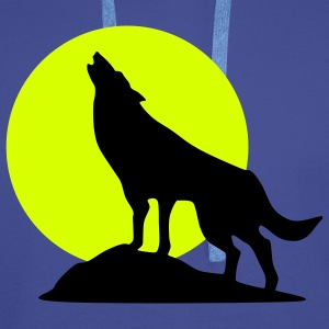 Wolve and Moon Silhouette, Wolf, Dog - Men's Premium Hoodie