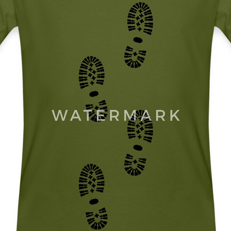 Shoes, Shoe Print, Hiking - Mannen Bio-T-shirt