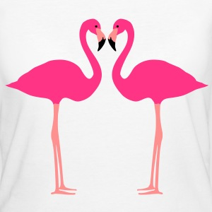fenicottero, Flamingoes and Heart - T-shirt ecologica da donna