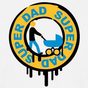 super_dad_with_pram_stamp T-shirts - Mannen T-shirt