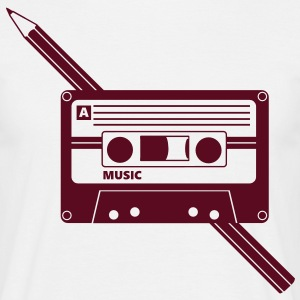 Kassette Stift Audio Tape Pencil T-shirts - Herre-T-shirt