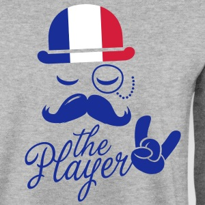 France monsieur rétro sport joueur rock bachelor jeux poker Championnat de football Moustache drapeau européen Sweat-shirts - Sweat-shirt Homme