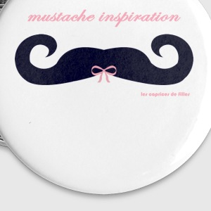 moustache ruban rose - Badge petit 25 mm