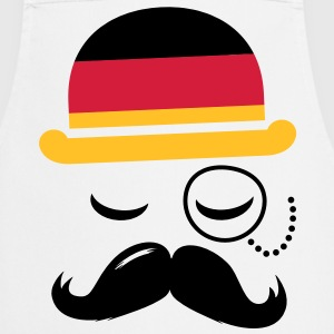 Germany fashionable retro iconic gentleman with flag and Moustache | sports | football |  Fartuchy - Fartuch kuchenny