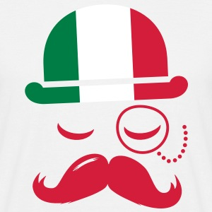Italy fashionable retro iconic gentleman with flag and Moustache | sports | football T-shirts - Herre-T-shirt