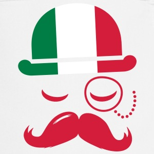 Italy fashionable retro iconic gentleman with flag and Moustache | sports | football Fartuchy - Fartuch kuchenny