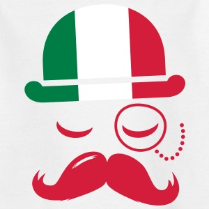 Italy fashionable retro iconic gentleman with flag and Moustache | sports | football Børne T-shirts - Teenager-T-shirt