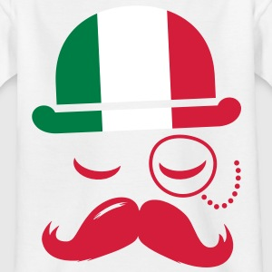 Italy nation fashionable retro iconic gentleman with flag and Moustache olympics sports football  Barn-T-shirts - T-shirt barn