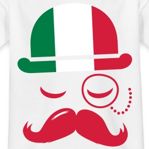Italy fashionable retro iconic gentleman with flag and Moustache | sports | football Lasten paidat - Lasten t-paita