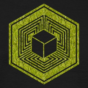 Crop Circle, TESSERACT, Hypercube 4D, 17th July 2010, Fosbury, Wiltshire, Symbol - Dimensional Shift T-shirts - Mannen T-shirt