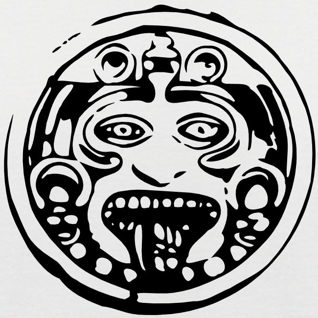 Mayan face zwart-wit