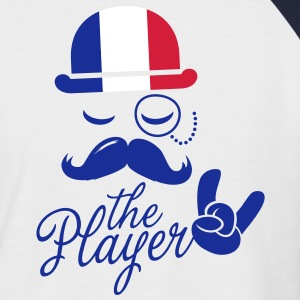 France retro gentleman sports player rock | olympics | football | Championship | Moustache | Flag European T-shirts - Kortärmad basebolltröja herr