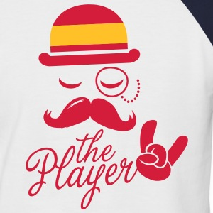 Spain retro gentleman sports player rock football bachelor olympics poker championship Moustache Flag European T-Shirts - Men's Baseball T-Shirt
