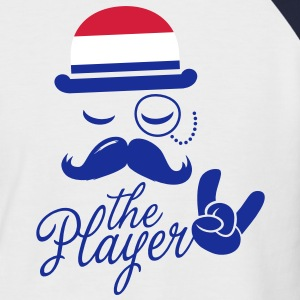 Netherlands retro gentleman sports player rock | football | Moustache | Flag European T-shirts - Kortärmad basebolltröja herr