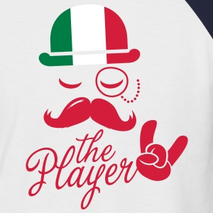 Italy retro gentleman sports player rock | football | Moustache | Flag European T-shirts - Kortärmad basebolltröja herr