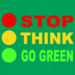 STOP - THINK - GO GREEN, 3c, eco, bio, geen,  T-Shirts - Men's Ringer Shirt