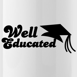 well educated with mortar board graduation Bottles & Mugs - Water Bottle