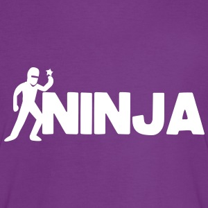 NINJA word with a throwing star T-Shirts - Women's Ringer T-Shirt