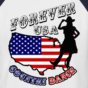 forever usa country dance  T-Shirts - Men's Baseball T-Shirt