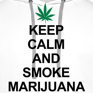 Keep Calm And Smoke Marijuana Gensere - Premium hettegenser for menn