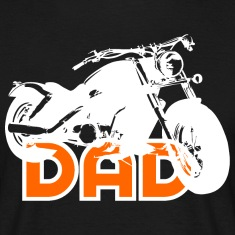 Biker DAD White/Orange Motorcycle T-Shirt WB