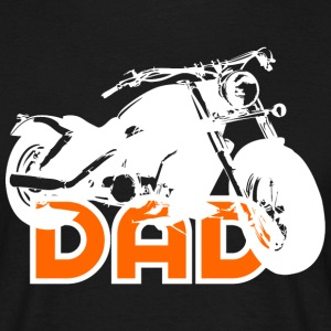 Biker DAD White/Orange Motorcycle T-Shirt WB - Men's T-Shirt