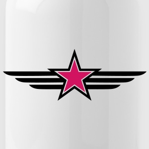 sharp red star black outline with 'wings' Bottles & Mugs - Water Bottle